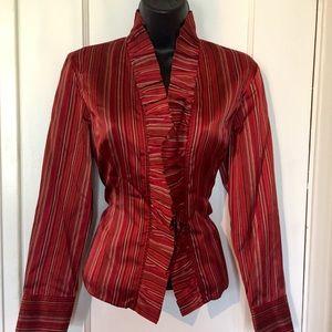 Talbots silk blend ruffled shirt blouse